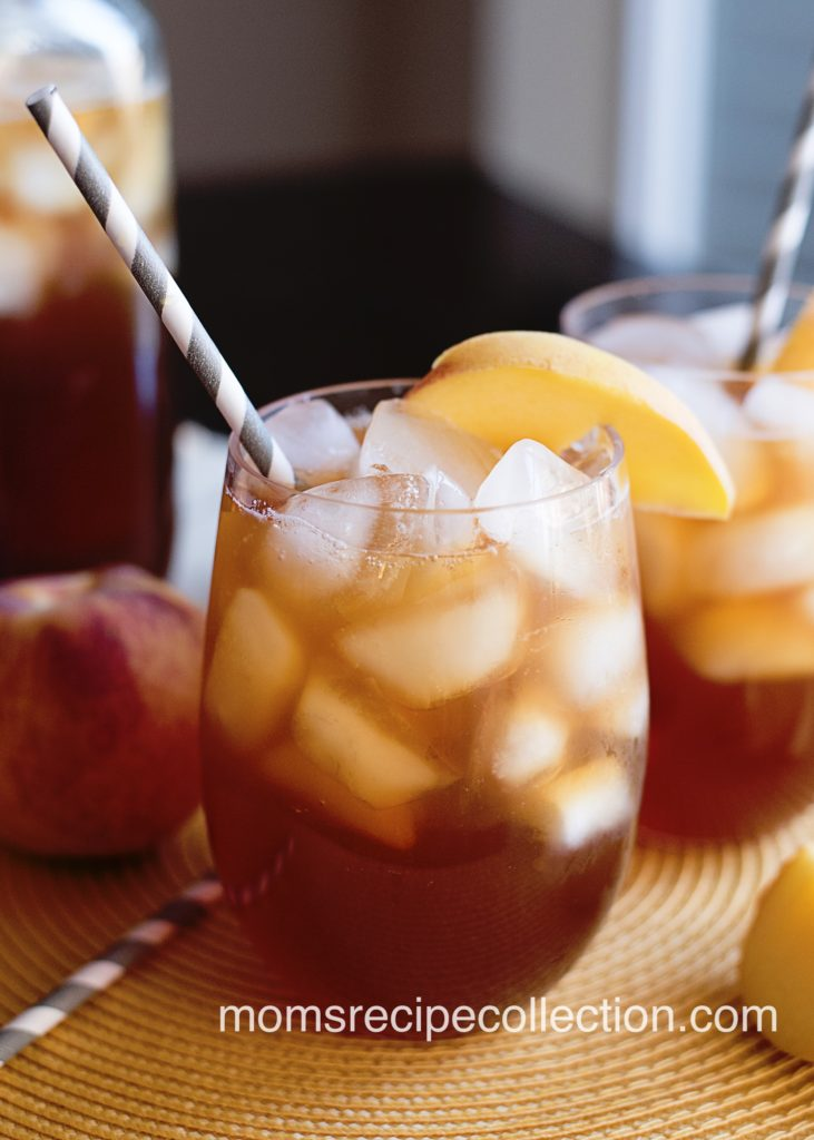 Delicious and refreshing southern style peach iced tea made with fresh or frozen peaches