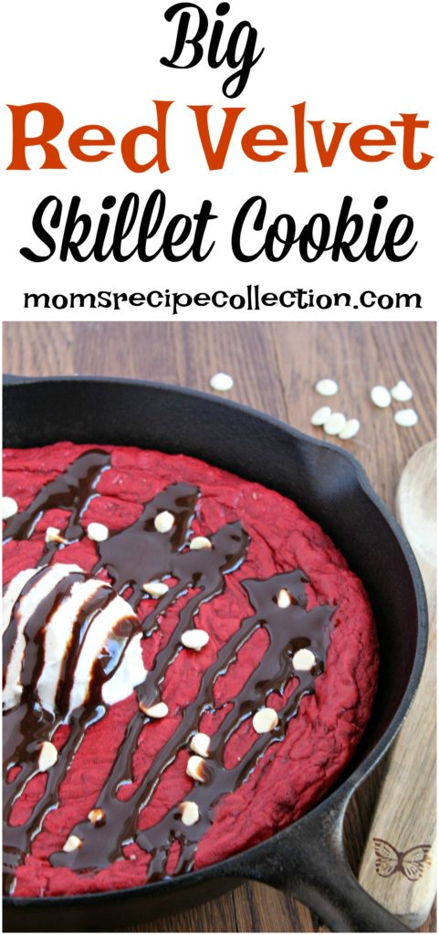 Mom's Recipe Collection | This Red Velvet Skillet Cookie is the perfect Valentine's Day dessert!