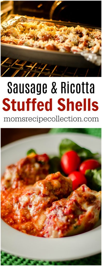 Stuffed Shells with Ricotta & Sausage are so easy to assemble!
