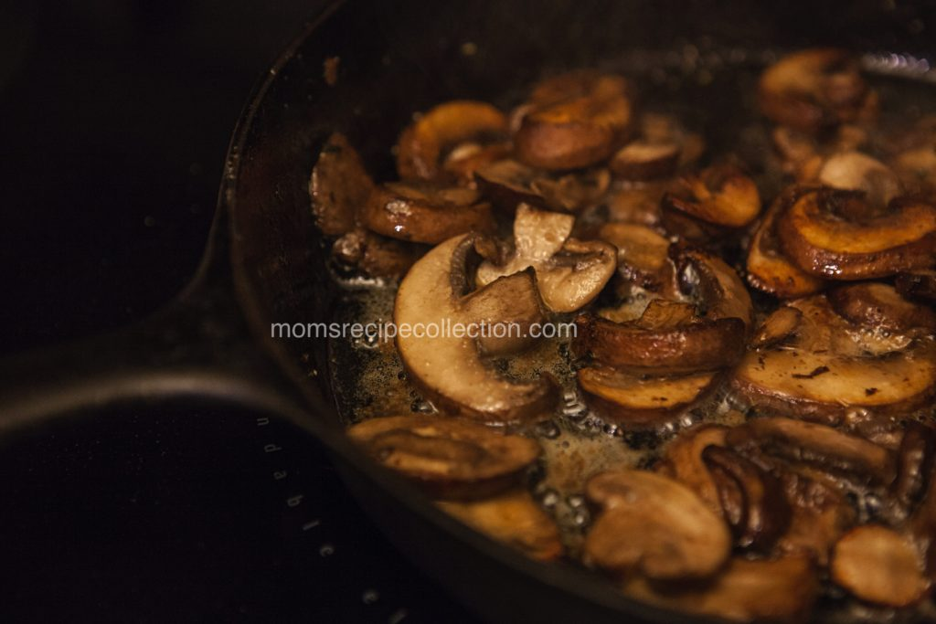 Sauteed caramelized mushrooms are the perfect topping for a delicious filet mignon
