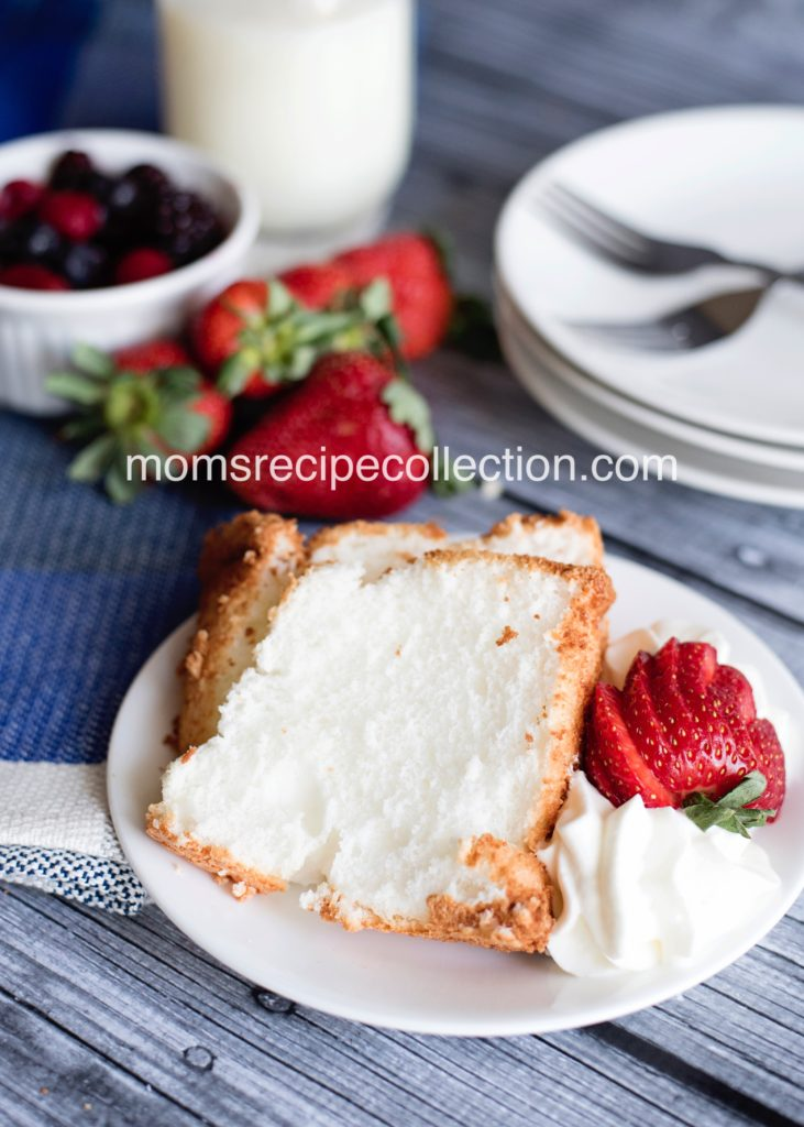 Pair your angel food cake with strawberries and whipped cream for an amazing dessert combination.