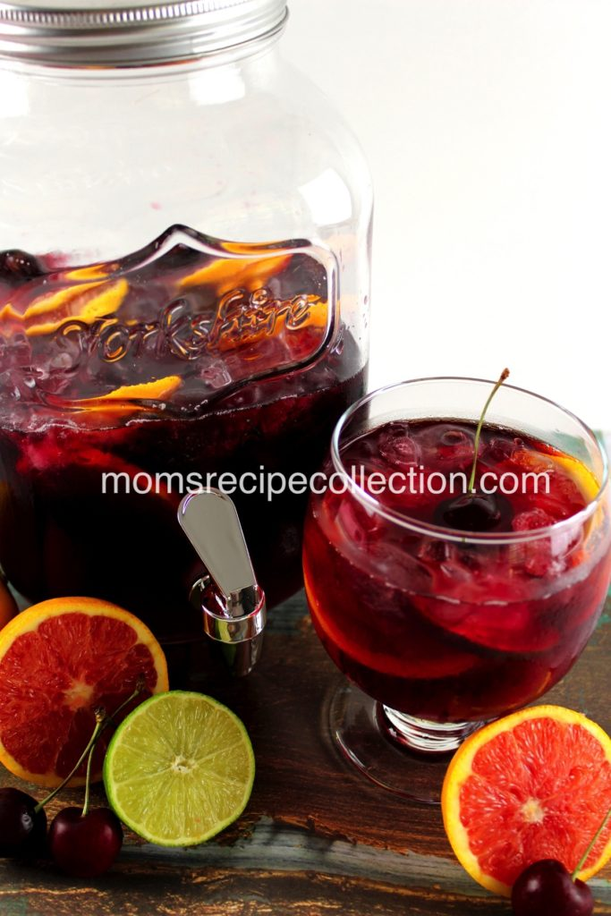 This fruity sangria is great topped with fresh cherries.