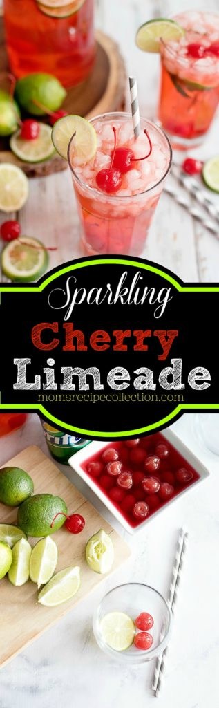 This sparkling cherry limeade garnished with fresh lime and cherries is tasty.