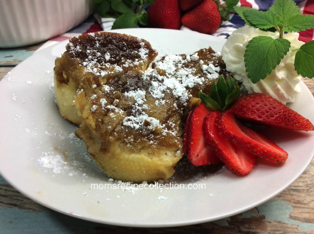 This thick piece of cinnamon french toast is tasty served with powdered sugar and fresh strawberries.