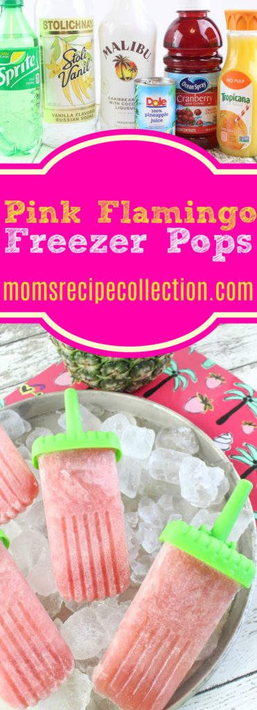 These pink flamingo freezer pops call for sprite, coconut rum, vanilla vodka, cranberry, pineapple and orange juice.