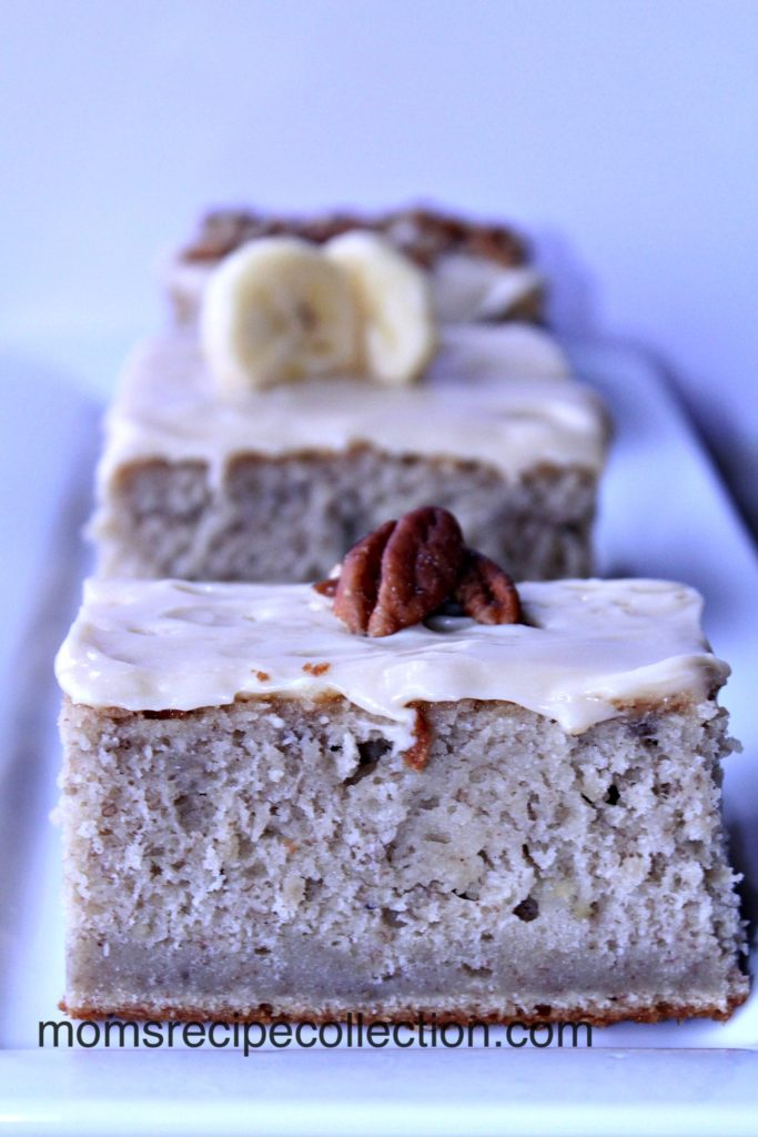 The frosting on Mom's Banana Cake is so creamy.