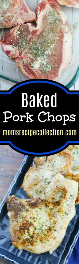 These oven baked pork chops are seasoned and easy to prepare.