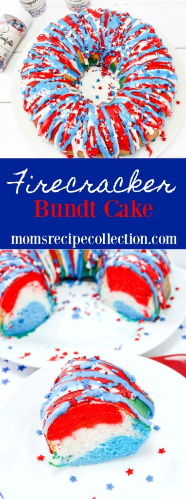 This moist, colorful Firecracker Bundt Cake will be the star of the show!