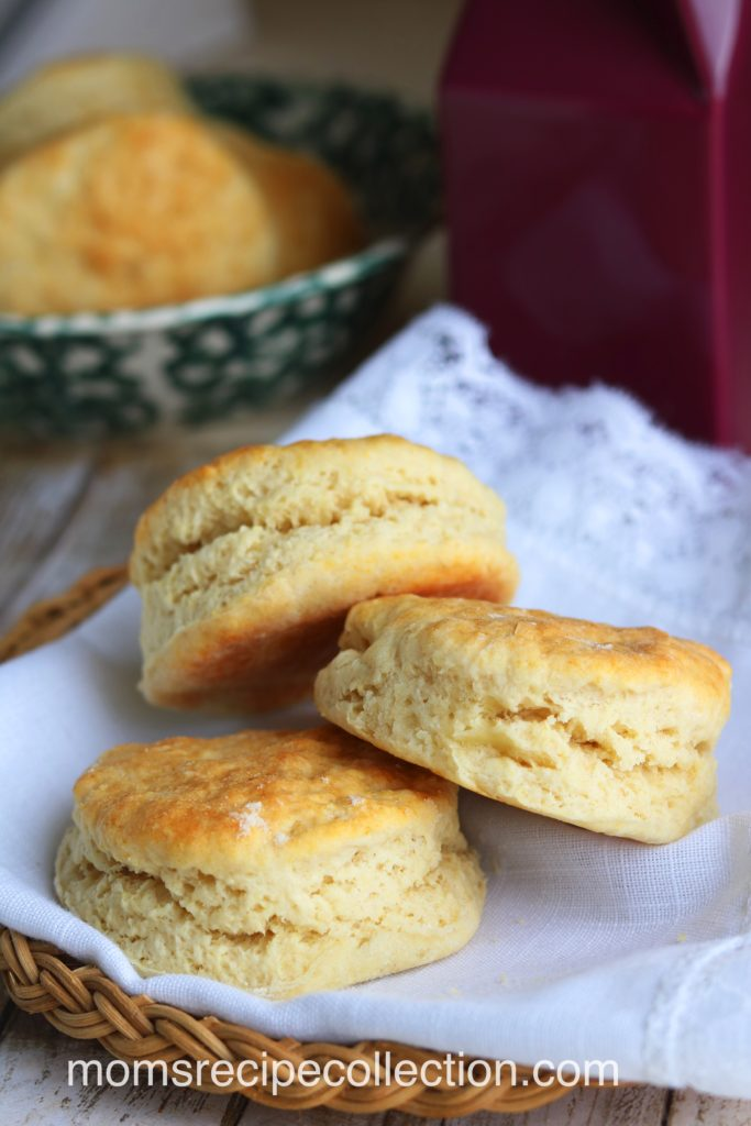 These old fashioned buttermilk biscuits are soft and fall apart.