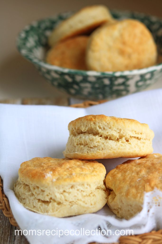 These old fashioned buttermilk biscuits are homemade and best served warm.
