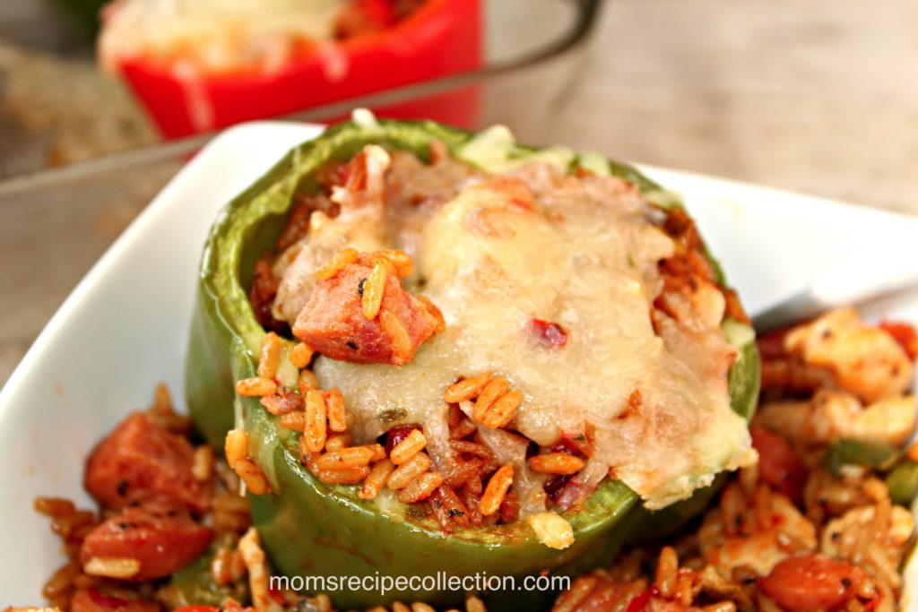 These stuffed jambalaya peppers filled with rice and topped with cheese are tasty.