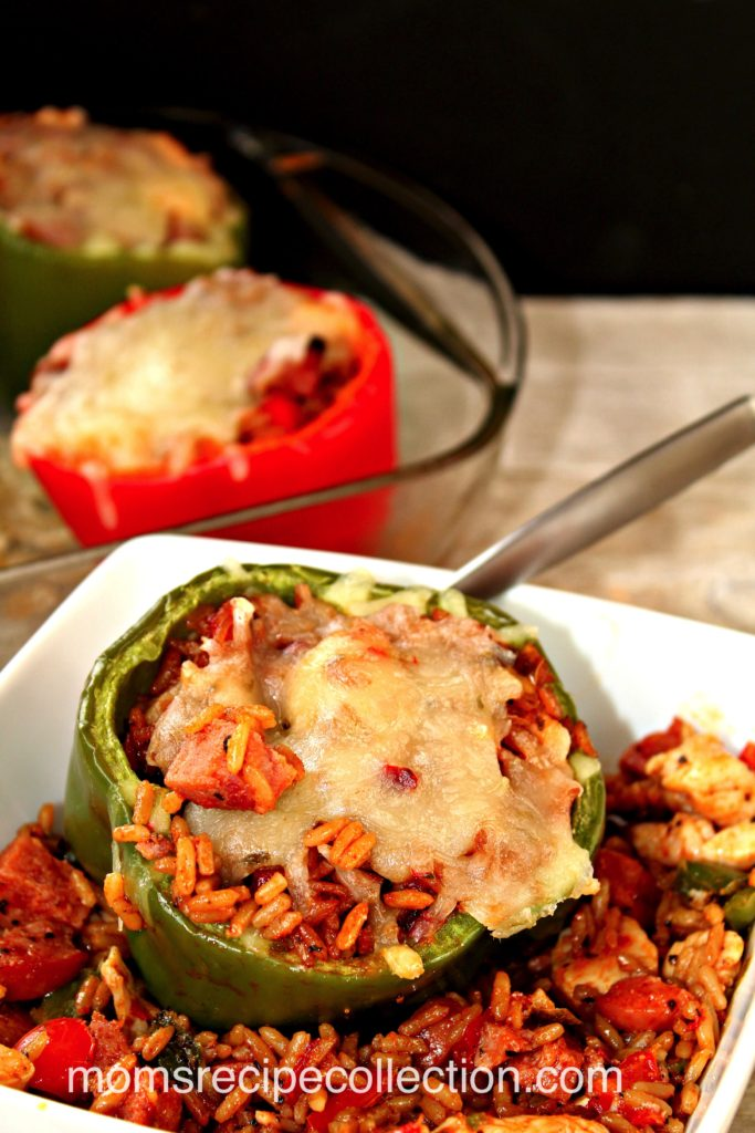 These stuffed jambalaya green peppers taste amazing served with rice and cheese.