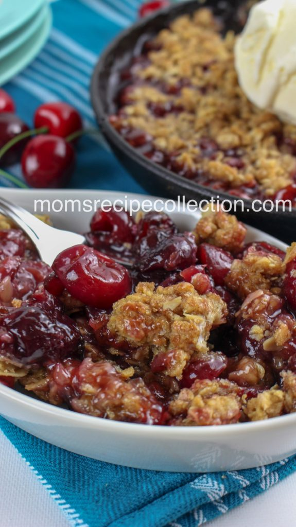 A delicious cherry crisp with sweet, tart cherries and a perfectly crisp crumble topping