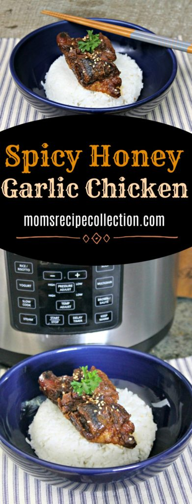 This spicy honey garlic chicken dinner recipe cooks great in the Instant Pot.