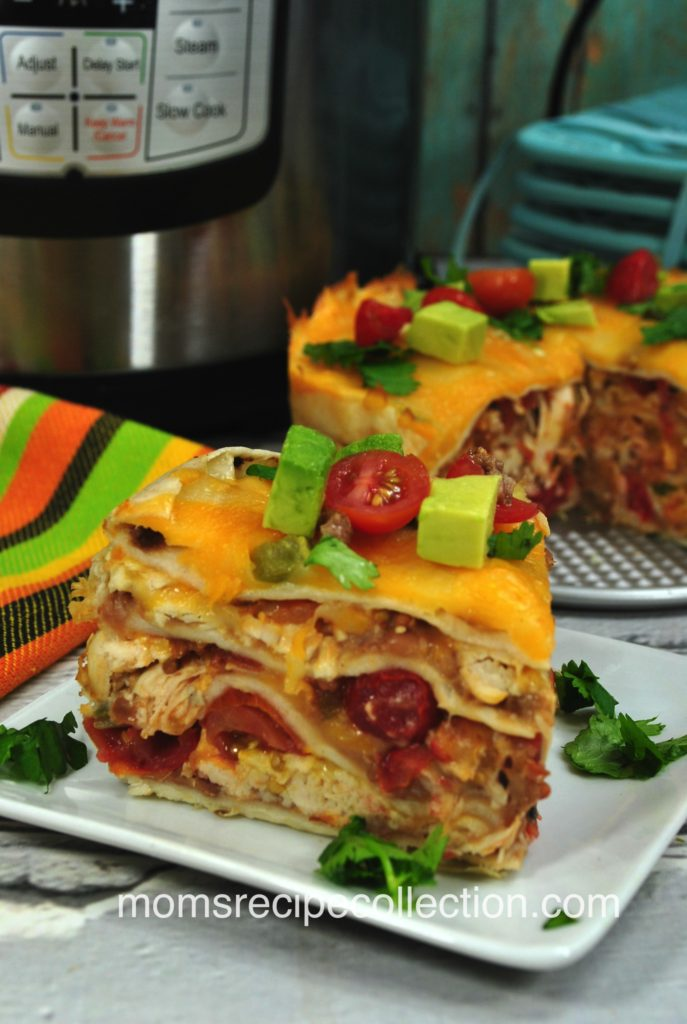 This cheesy chicken taco pie is layered with yummy flavors.