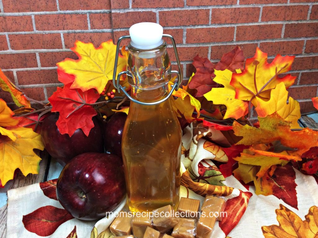 This homemade caramel apple vodka is festive for the fall season.