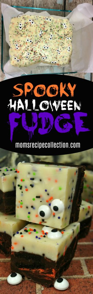 These spooky Halloween fudge pieces are fun desserts.