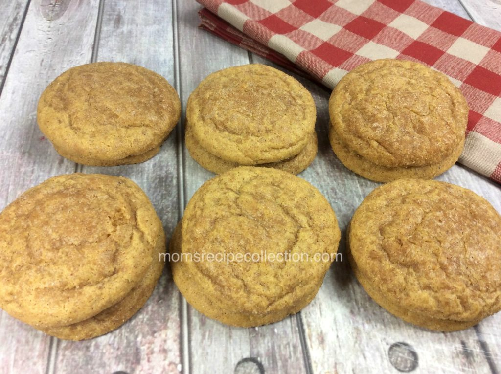 These pumpkin snickerdoodle cookies are homemade and baked to perfection.