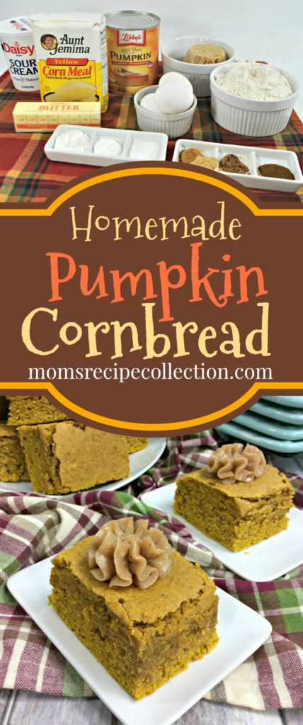 Mom's Recipe Collection | This homemade pumpkin cornbread recipe is a great Thanksgiving addition.