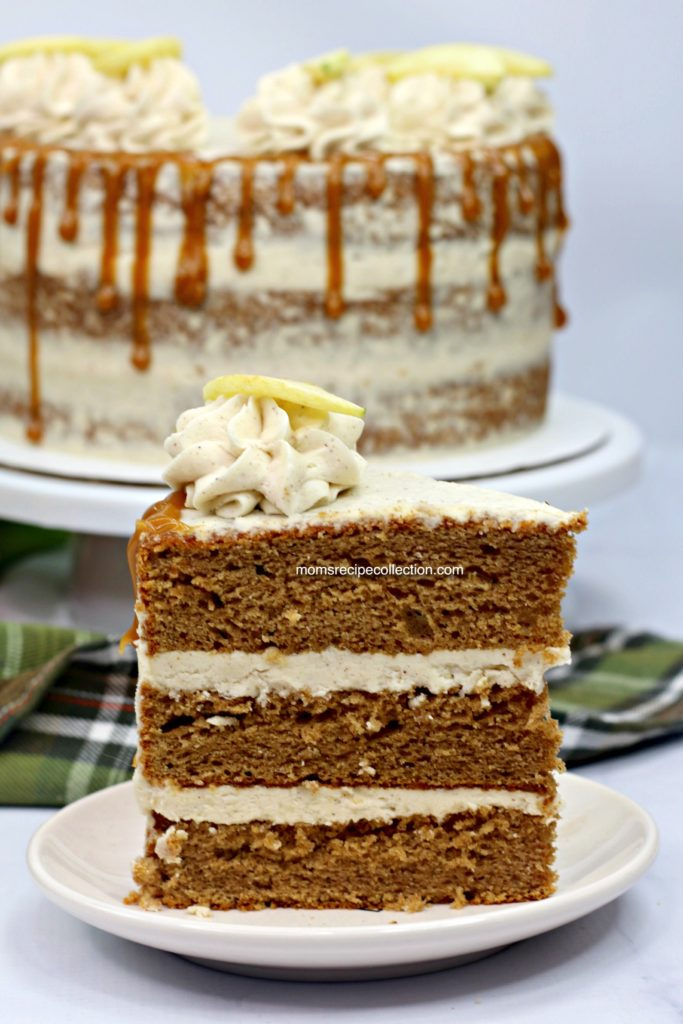 Drizzle this delicious apple cider cake with caramel and top with cinnamon buttercream frosting.