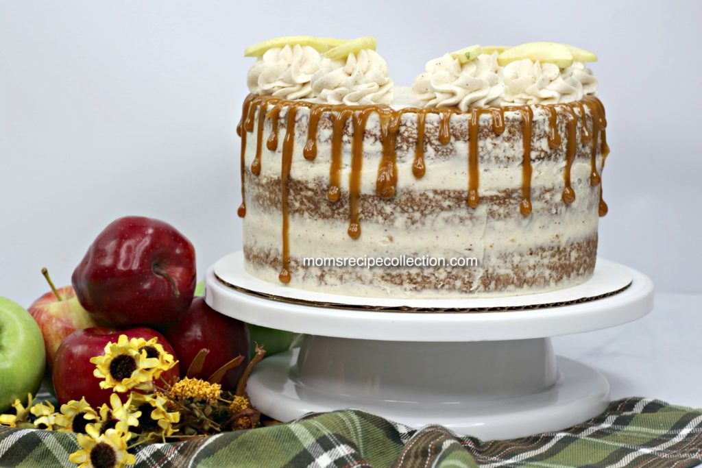 Drizzle this apple cider cake with caramel after the cinnamon butter cream frosting for a truly unique flavor.