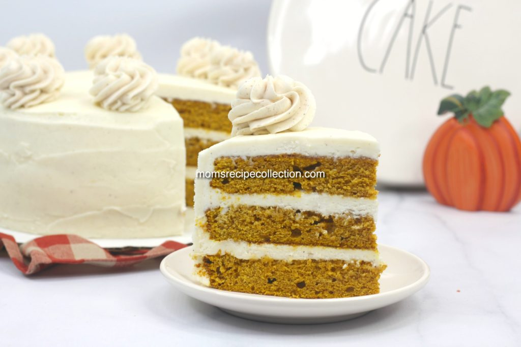 Amazing spiced pumpkin cake with creamy cinnamon cream cheese butter frosting.