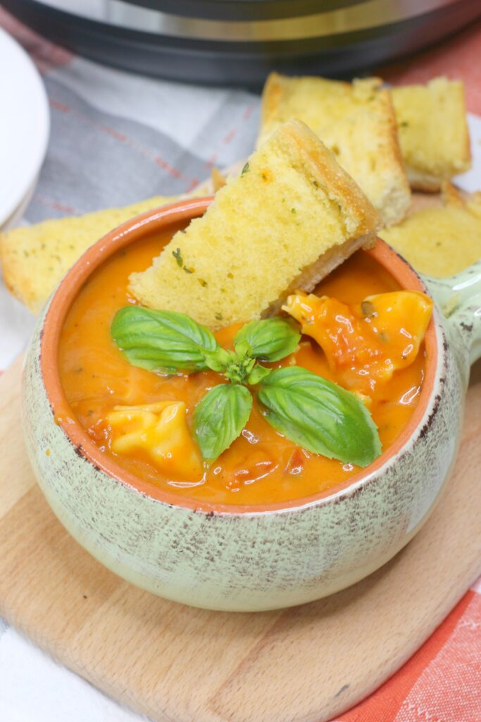 This delicious tomato tortellini soup is so easy to make in the Instant Pot.